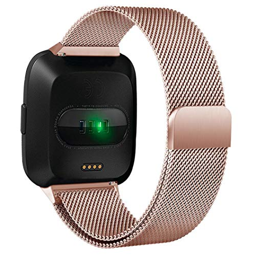 for Fitbit Versa Bands - Stainless Steel Replacement Wristband for Fitbit Versa Bracelet Band Strap Fitness Watchbands Magnetic Loop (Rose Gold)