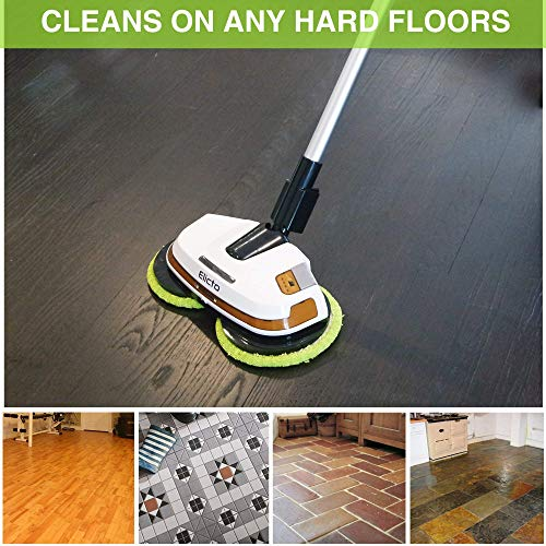 Elicto Electronic Dual Spin Mop and Polisher with Water Spray, LED, Adjustable Height, Ergonomic Design, 2 Sets of Reusable Microfiber Mop Heads, for Any Hard Surface (Cordless)
