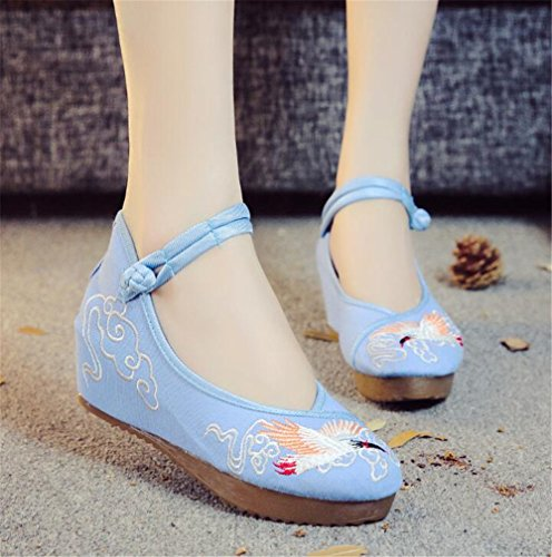 Pisos Mary Blue Bordados Jane Blandas De Lona Cuña Grúa Las De Suelas Alpargatas Zapatos Mujeres W0Pqvgvw6