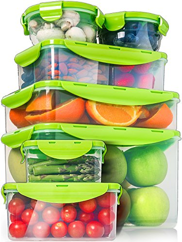 14 Piece Food Storage Containers Set- inc Bento Lunch Box - Green Snap Lock Lids - Airtight, Watertight, Leak-Proof - Stackable - Wet or Dry Food Container - BPA Free - for Home Pantry and Kitchen