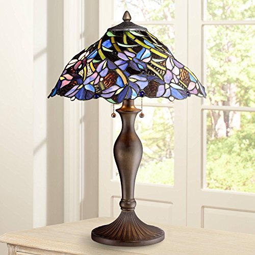 Grady Traditional Table Lamp Vintage Bronze Metal Floral Swirl Stained Art Glass for Living Room Family Bedroom - Robert Louis Tiffany