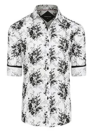 Tarocash Men's Orlando Stretch Print Shirt White M Stretch Cotton Regular Fit Long Sleeve Sizes XS-5XL for Going Out Smart Occasionwear
