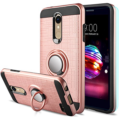 LG K30 Case,LG Phoenix Plus/LG Harmony 2/LG Premier Pro/LG K10 2018 Case with HD Screen Protector,Anoke Cellphone 360 Degree Rotating Ring Holder Kickstand Drop Protective Cover ZS Rose Gold - Lip Gold Embossed Inner