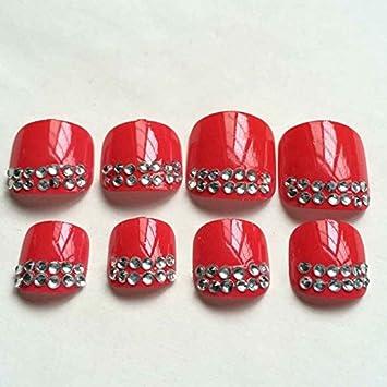 Amazon Candy Red Nail Art Toenails Tips Crystal Decoration