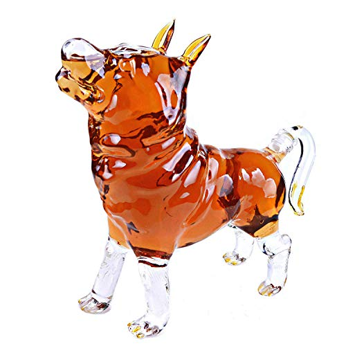 Animal Decanters Large 35-Oz Shepherd Dog Glass Figurine, Lead Free Mouthblown Liquor Decanter For Bourbon, Whiskey, Scotch, Rum, Tequila
