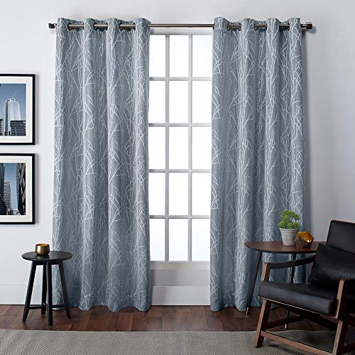 Exclusive Home Curtains Finesse Window Curtain Panel Pair with Grommet Top, 54x84, Steel Blue, 2 Piece (Curtains Dark Blue And Grey)