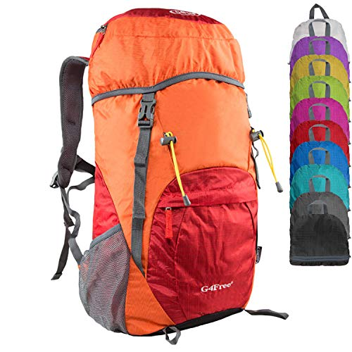 G4Free Large 40L Lightweight Water Resistant Travel Backpack/Foldable & Packable Hiking Daypack(Orange/Red) -
