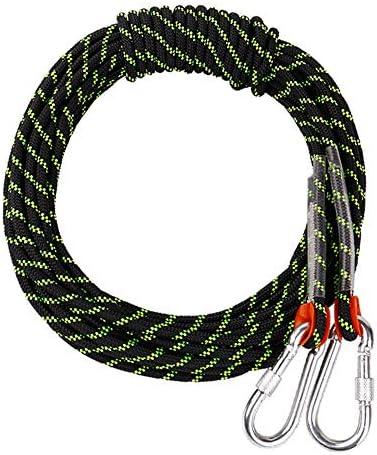 クライミングロープ、屋外消防救命パラシュート静電気屋内用ロープ、頑丈な安全性と耐久性のあるロープ、直径10.5 mmブラック,10m