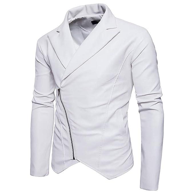 Elecenty Uomo Capispalla Giacca in Pelle con Cerniera Diagonale Locomotiva  Cappotto da Uomo Cerniera Zipper Jacket Autunno Inverno Outwear  Amazon.it   ... 0e469a47ab9