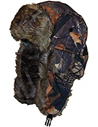 Adult Tree Camouflage Russian/Hunters Cap W/Soft Faux Fur