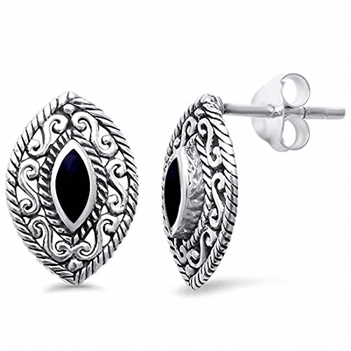 - Filigree Marquise Stud Earrings Simulated Black Onyx 925 Sterling Silver