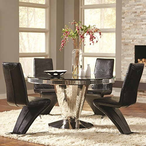 Coaster Home Furnishings Barzini 5-Piece Round Table Dining Set Black and Stainless Steel