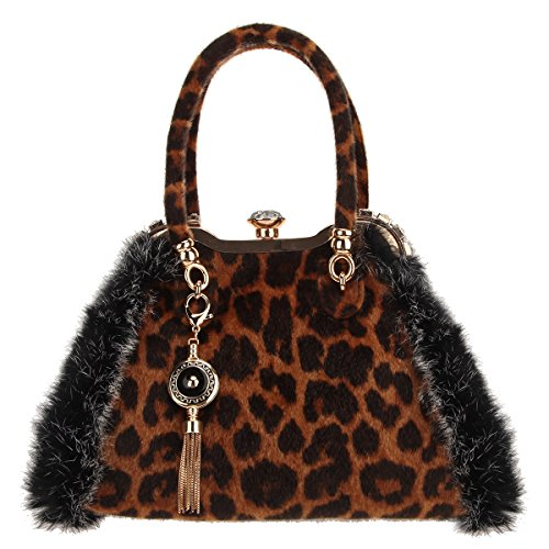Leopard Printed Leather Tote (Bonjanvye Leopard Bag Tassel Shoulder Bags with Compartments Fur Totes with Pockets Brown)
