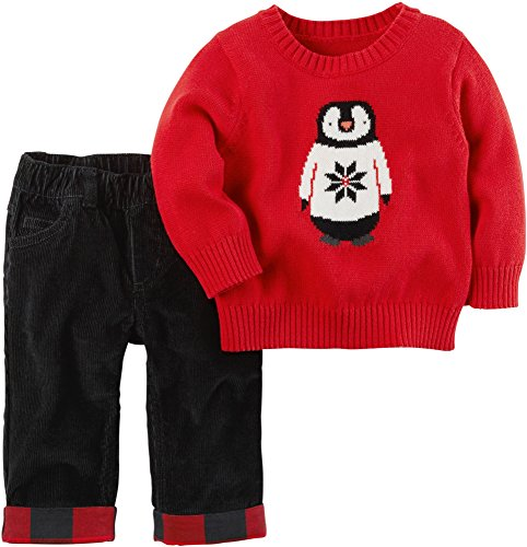 Carter's Baby Boys' 2 Piece Penguin Top and Pants Set Red 3 Months -