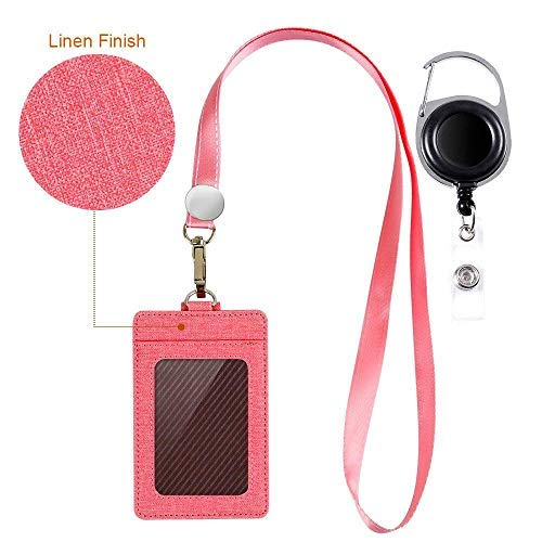 Life-Mate Badge Holder - Leather ID Badge Card Holder Wallet Case with 3 Cards Slot and Neck Lanyard/Strap. Additional Retractable Badge Reel with Belt Clip (Pink, Linen Finish)