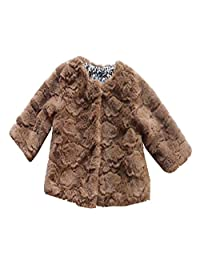 Infant Baby Girls Coats Dark Brown Faux Fur Warn Outerwear