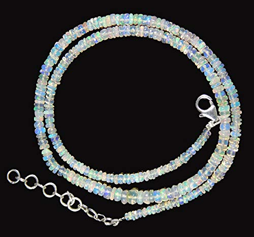 Myhealingworld Natural White Ethiopian Opal Beaded Necklace 16″ Beads with Additional 2 inch Extension (White)