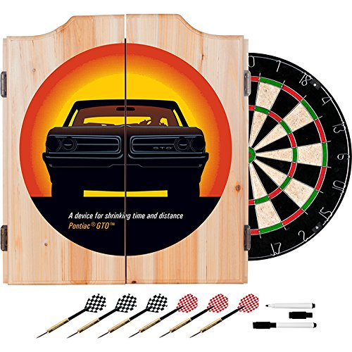 Pontiac GTO Design Deluxe Solid Wood Cabinet Complete Dart Set by TMG