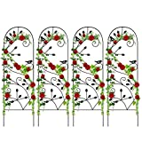4 Pack Garden Trellis for Climbing Plants 46' x 15' Rustproof Sturdy Black Iron Trellis for Potted Plants Support Metal Trellises for Climbing Roses Vines Vegetable Flower Ivy Grape Cucumber Clematis