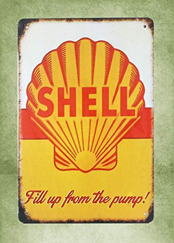(QDTrade Metal Sign 16 x 12inch - Shell Gas Fill up from Pump Vintage Look tin Sign Wall Decoration Bar Cafe Home Decor Lodge Cafe plaques)