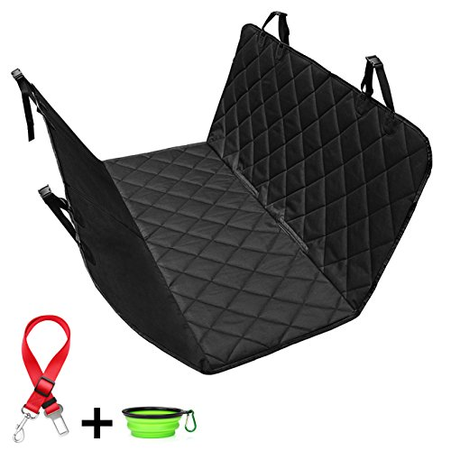 Bowl Quick Clip (Dog Seat Cover Waterproof LIBERRWAY Car Pet Seat Cover Hammock Scratchproof and Nonslip with Seat Anchors for Car Back seat Suv's Truck, Black【Bonus Pet seat belt and Carrying Bowl】)