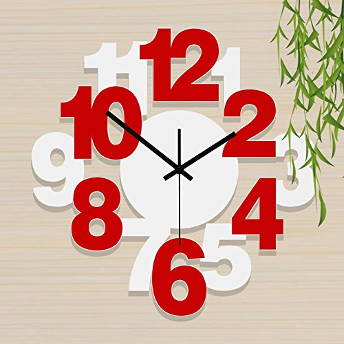 Wall Clock living room modern minimalist watches creative fashion clock mute personalized art quartz clock bedroom, 20 inch, White + Red