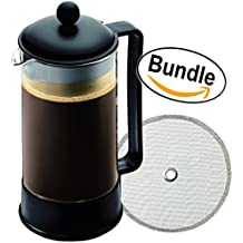 Bodum Brazil 8-Cup French Press Coffee Maker, 34-Ounce, Black (1548-01US) and Extra Bodum Replacement French Press Filter (1508-16) - Bundle