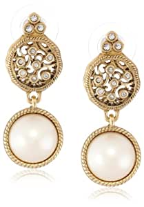 "T Tahari ""Essentials"" Gold with Pearl Drop Earrings"