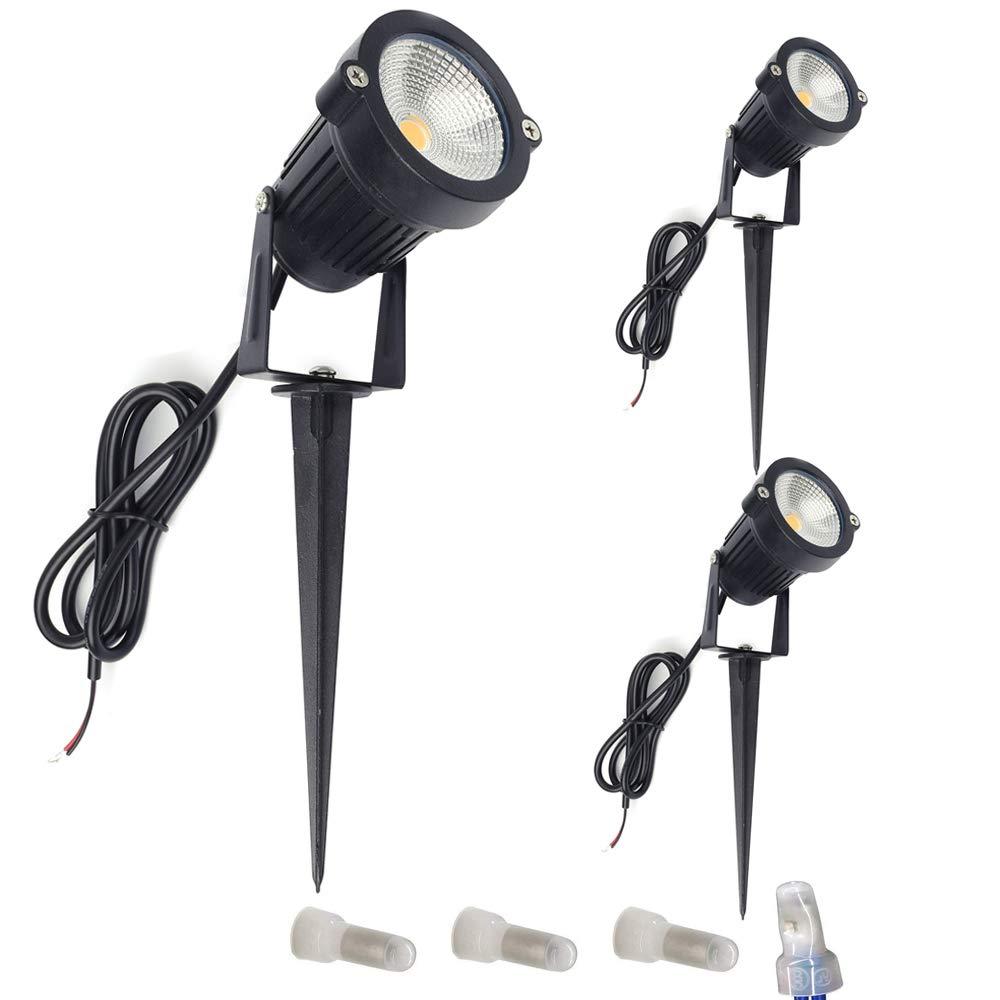 ALEDECO 2 Pack Low Voltage Landscape Lights 12V 5W LED Outdoor Pathway Garden Spotlight Tree Flag Uplights with Stake Waterproof IP65