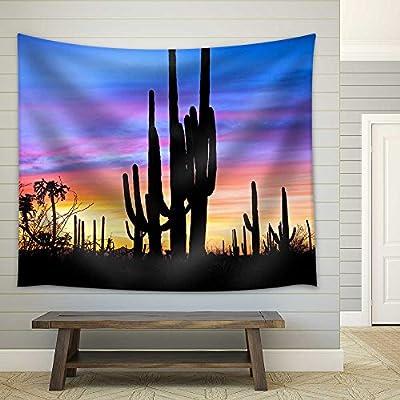 Lovely Artisanship, Saguaro Silhouetten in Sonoran Desert Sunset Lit Sky Fabric Wall, Top Quality Design