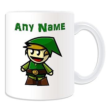 De regalo con mensaje personalizado - Elf chico en una gorra verde taza (molde para