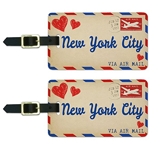 Graphics & More Air Mail Postcard Love for New York City Luggage Suitcase Id Tags, White