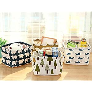 Set of 4 Simple Portable Storage Box Linen Toy Children Storage Box Office and Desk Bed Suitable for Bedroom