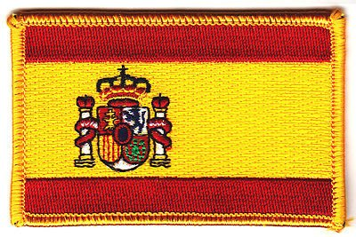 SPAIN FLAG, Spanish National Flag w/Gold Border/Iron On Patc