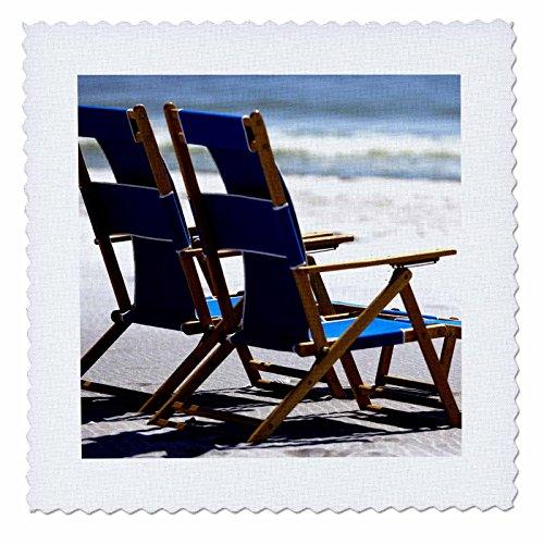 3dRose qs_91483_8 Beach Chairs, Umbrella, Ship Island, Mississippi-US25 FVI0023-Franklin Viola-Quilt Square, 20 by 20-Inch