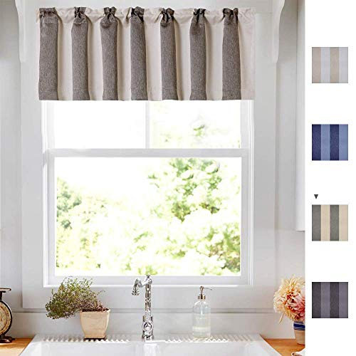 16L Beige & Grey Valance Room Darkening Striped Valance Curtain Kitchen Drapes Shade Window Curtain
