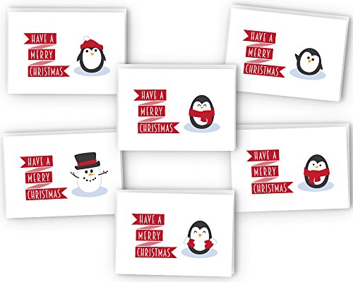 Winter Penguin Christmas Cards Collection - 24 Cards & Envelopes