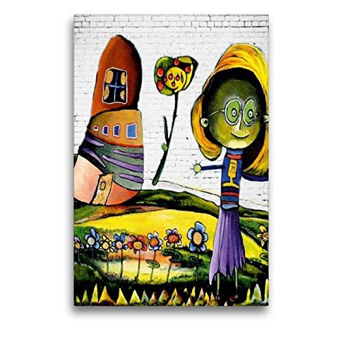 CALVENDO Hannah Baut Toile Murale en Textile de qualité supérieure Motif Maison de Hannah 50 x 75 cm