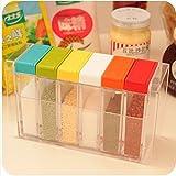 Deziredeal Crystal Seasoning Box Seasoning Set Pepper Salt Spice Rack (Set Of 6),Multicolor