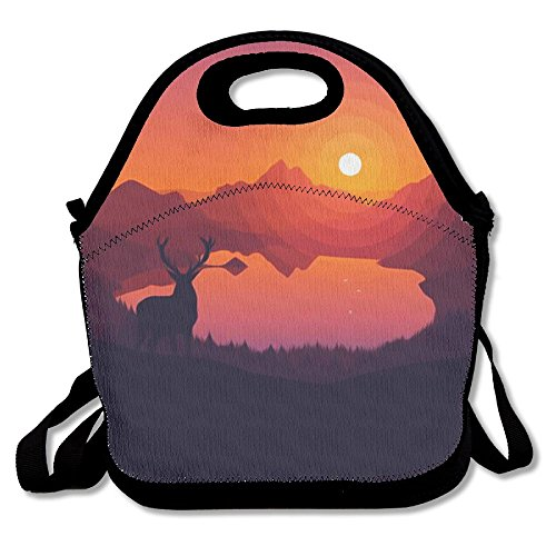 Halo Elk Picnic Lunch Box Tote Bag Lunch Tote Picnic Bag With Rope Belt Stylish