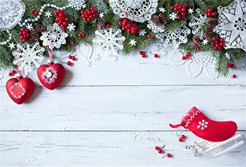 CSFOTO 6x4ft Background for Christmas White Wooden with Snowflakes Tree Branches and Red Berry Photography Backdrop Xmas Decor Fir Rustic Cute Sock Holiday Photo Studio Props Polyester Wallpaper ()