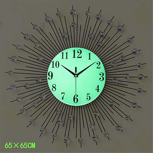 (Decorative Wall Clocks, Diamonds Clock, Crystal Frameless Luminous Modern Metal Flower Decor Clock for Large Living Room Bedroom,25.6inch)