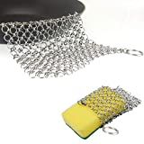 Cast Iron Cleaner,Madoats 4''x2''Chain Mail Scrubber with Duty Scrub Sponge for Cast Iron Cookware+8''x6'' Anti-Rust Stainless Steel Chainmail Scrubber (02)
