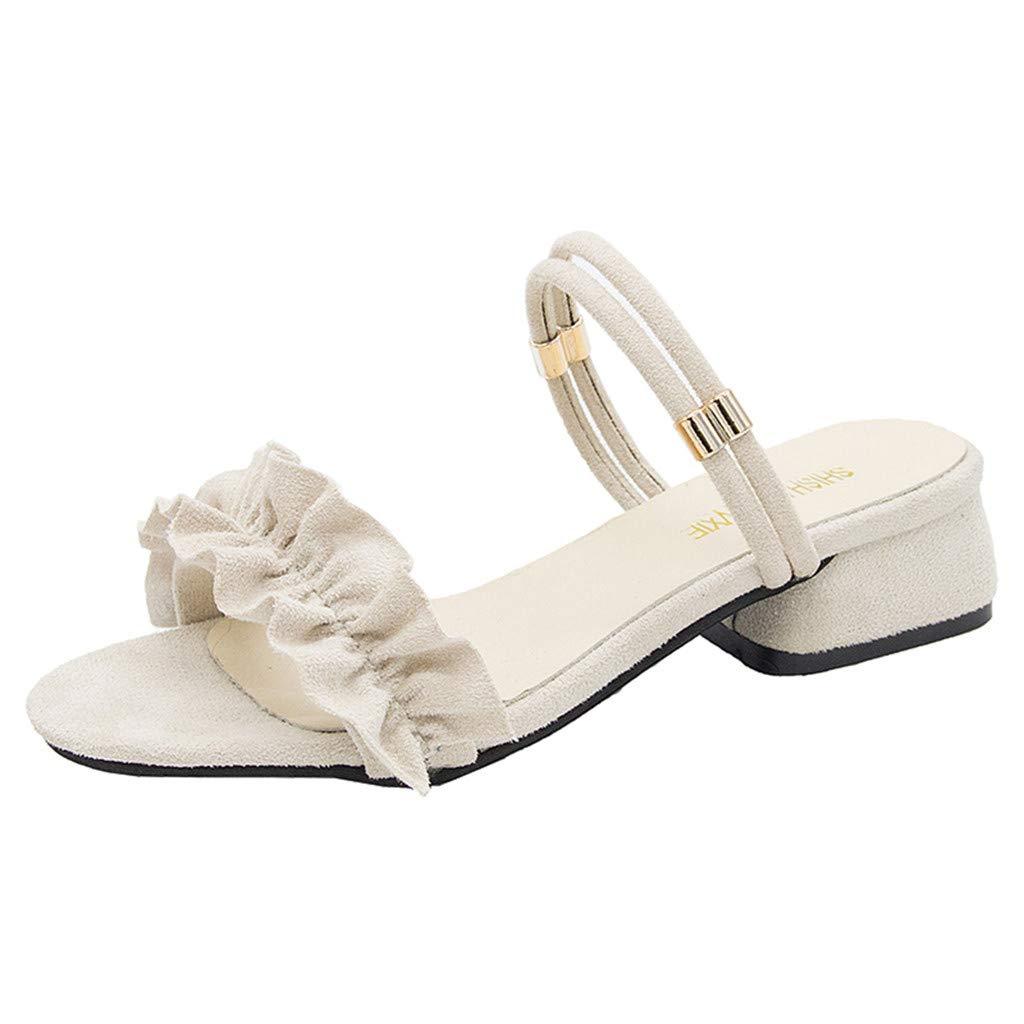 Women Ruffle Sandal - Ladies Cute Slip On Slide Flat Slide Sandal - Low Chunky Block Heel Comfortable Sandals Shoes (5, Beige)