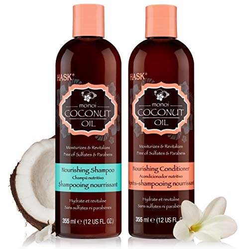 HASK MONOI COCONUT OIL Shampoo and Conditioner Set Nourishing for all hair types, gluten free, sulfate free, paraben free - Set of 1 Shampoo and 1 Conditioner