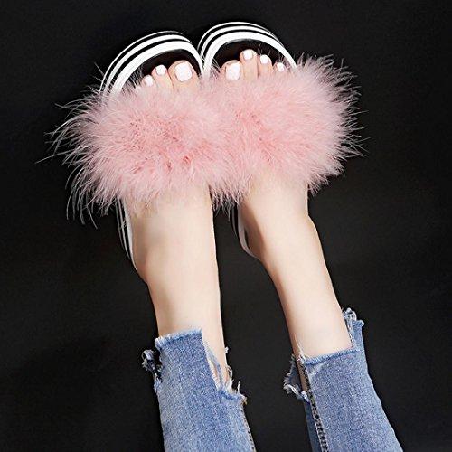 de Moda Oto o Verano Piel Esponja Mujer sint Zapatillas Flip Flop Pastel rwnzrRWx
