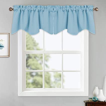Amazon & PONY DANCE Window Curtain Tiers - Kitchen Valances Soft Rod Pocket Natural Scalloped Half Small Curtains Home Decor for Match with Drapes 42\