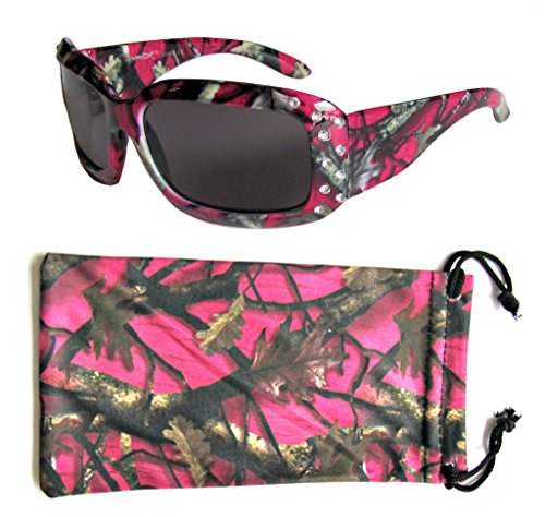 VertX Girls Hot Pink, Purple, Blue, Green Camouflage Sunglasses Rhinestone Designer Fashion Eyewear for Kids – Hot Pink Camo Frame – Smoke - Hot Chick With Glasses