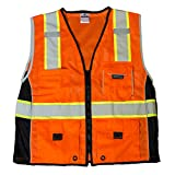 ML Kishigo 1514 Ultra-Cool Polyester Black Series Heavy Duty Vest, Medium, Orange