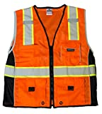 ML Kishigo 1514 Ultra-Cool Polyester Black Series Heavy Duty Vest, Large, Orange
